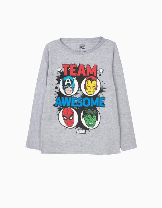 T-shirt Manga Comprida Team Awesome Marvel Cinzenta