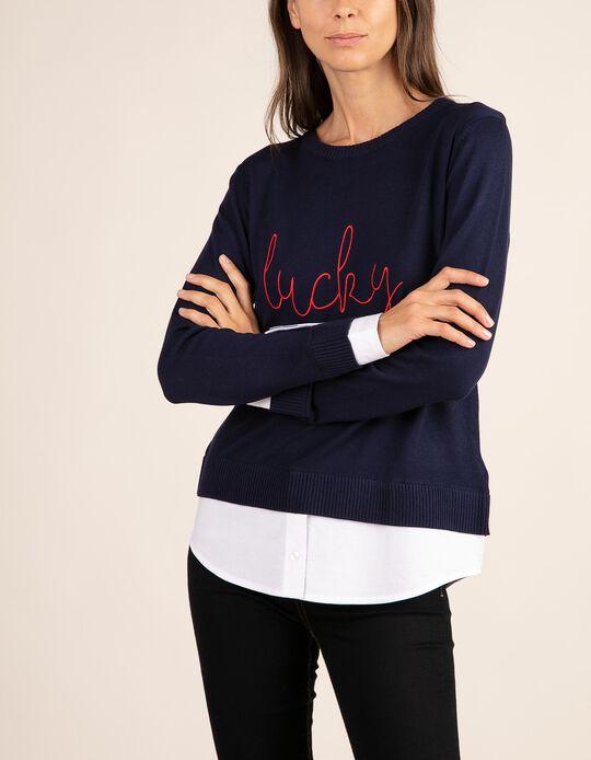 Camisola lisa com bordado com acabamentos em camisa
