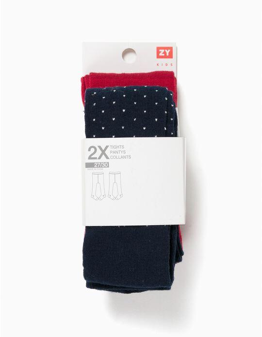 Pack 2 Collants de Malha Vermelhos e Azuis Lurex