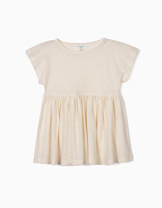 T-shirt para Menina 'B&S' com Linho, Ecru