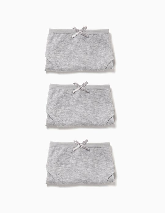 3-Pack Hipster Briefs for Girls, Grey