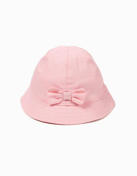 Hat for Girls with Bow, Light Pink