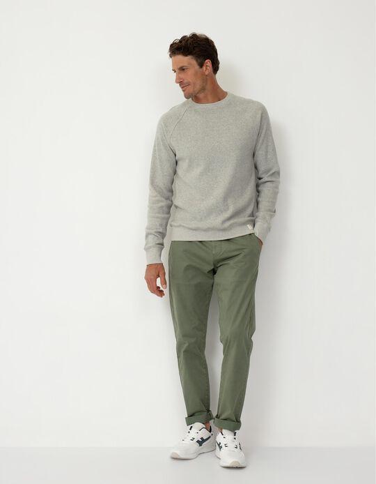 Slim Leg Twill Trousers, Men, Green