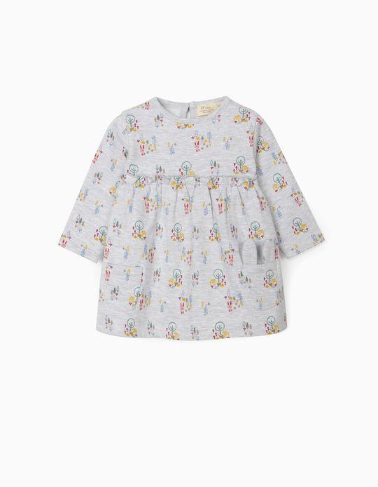 Printed Dress for Newborn Baby Girls, Grey
