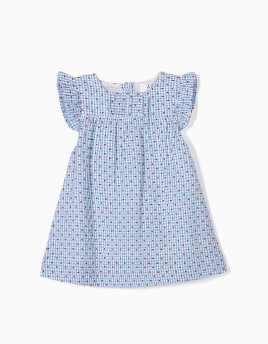 Vestido e Tapa-Fraldas para Recém-Nascida 'Vichy e Corações', Azul