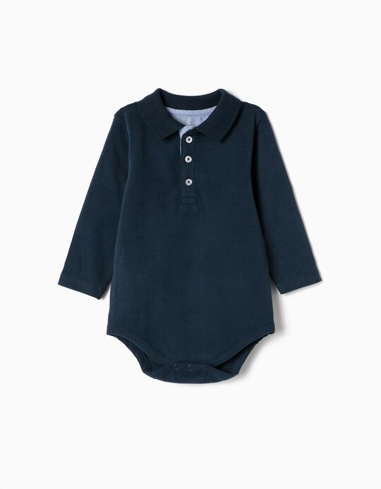 Bodysuit Polo Shirt for Newborn Boys, Dark Blue