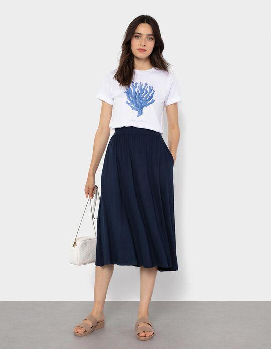 Fluid Midi Skirt, Dark Blue