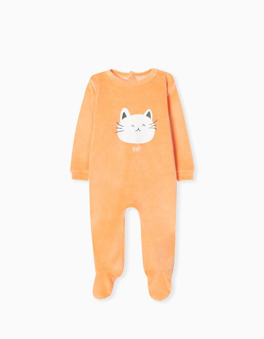 Velour Sleepsuit, Babies, Orange