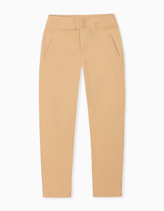 Beige High Waist Trousers, for Women
