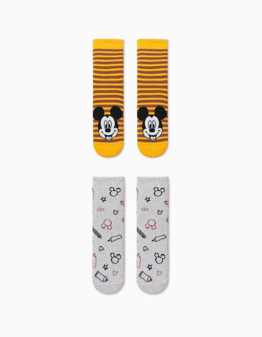 2 Meias Antiderrapantes do Mickey, Menino, Cinza/Amarelo