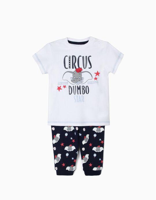 Pijama para Bebé Menino 'Dumbo', Branco e Azul Escuro