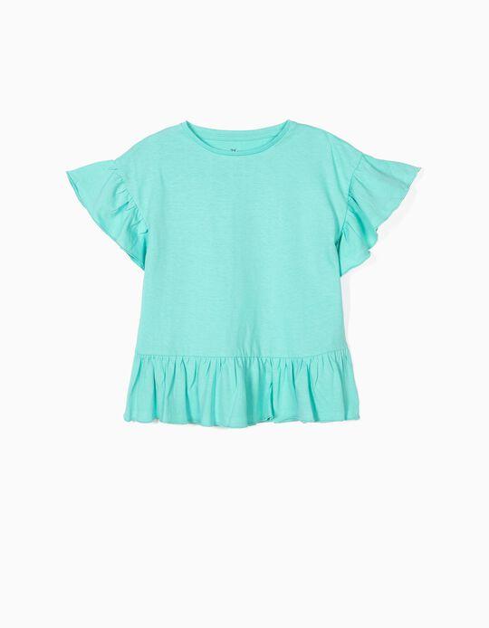 T-shirt com Folhos para Menina, Azul