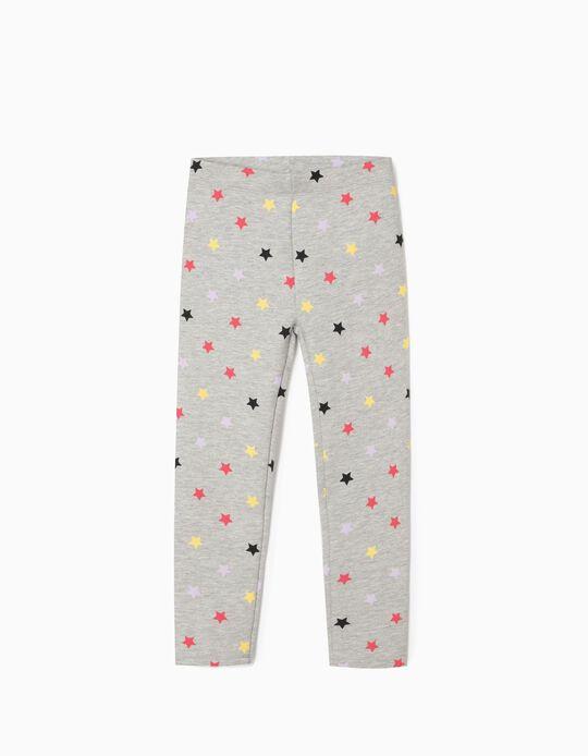 Carded Leggings for Girls, 'Stars', Grey