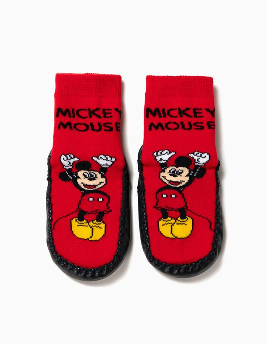 Meias-Pantufa Antiderrapantes para Menino 'Mickey Mouse', Vermelho