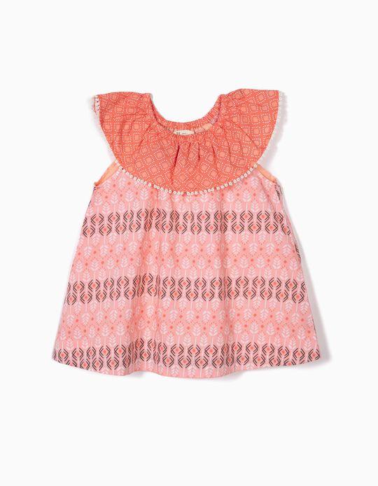 Blusa Estampada para Menina, Coral