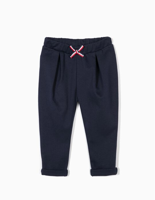 Trousers with Bow for Baby Girls, Dark Blue