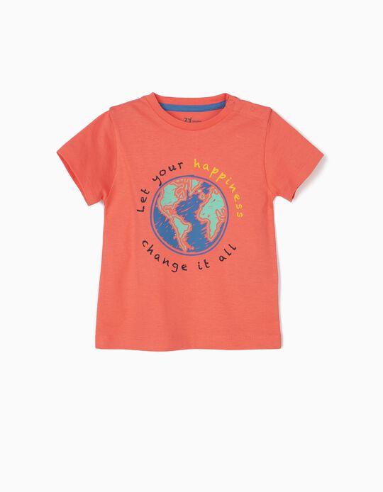 T-shirt para Bebé Menino 'Hapiness', Coral