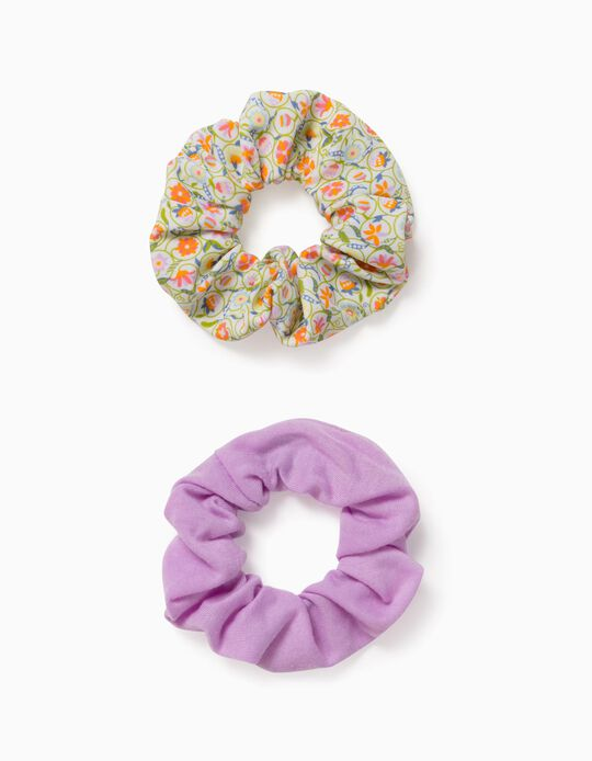 2 Scrunchies for Girls, Multicoloured, Lilac
