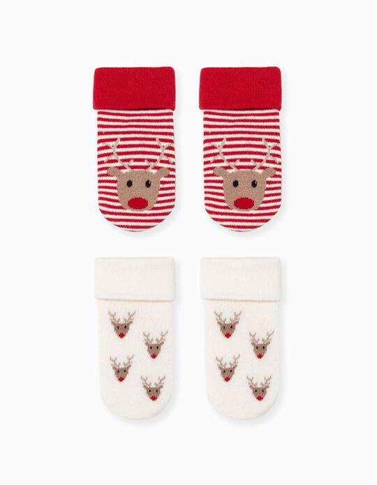 2 Pairs of Non-Slip Socks for Babies 'Reindeer', Red/Beige