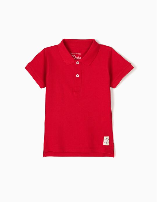 Short-Sleeved Polo Shirt for Baby Boys, Red