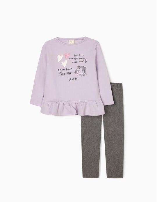 Set for Girls 'Glitter', Purple/Grey