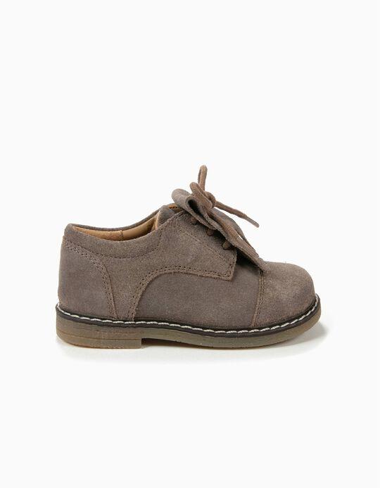 Sapatos de Camurça Taupe com Franjas