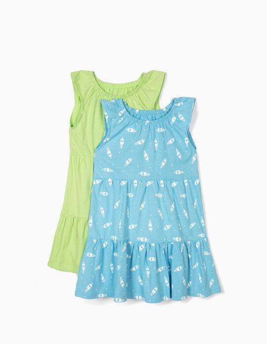 2 Vestidos Jersey para Menina, Azul e Verde