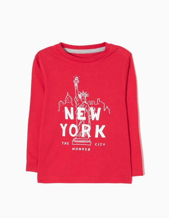 T-shirt Manga Comprida New York Vermelha