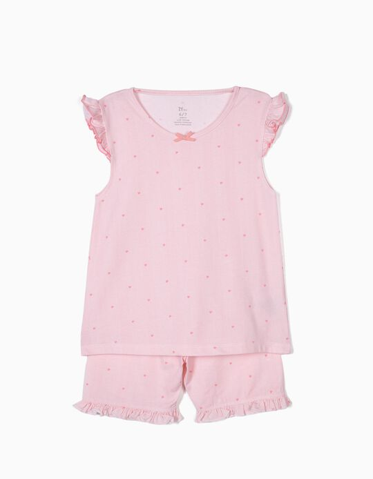Pijama para Menina Riscas e Flores, Rosa