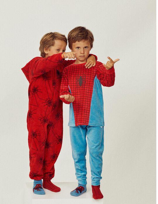 Pijama Veludo para Menino 'Spider-Man', Azul/Vermelho