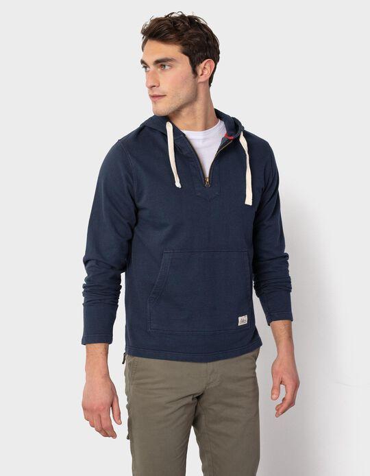 Sweatshirt com Fecho e Capuz, Homem, Azul Escuro