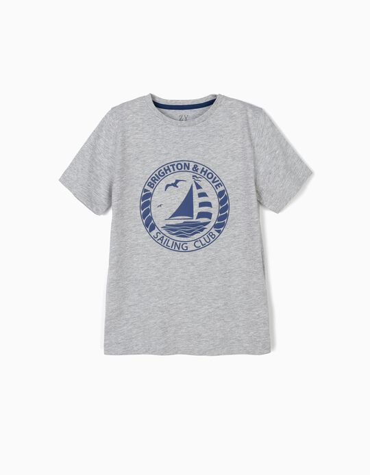 T-shirt for Boys 'Sailing Club', Grey