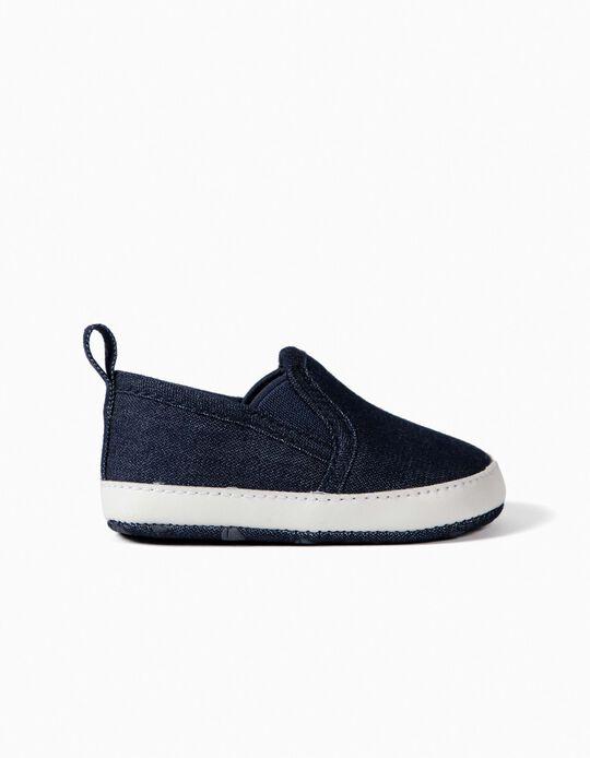 Sapatilhas Slip-On Denim para Recém-Nascido, Azul Escuro