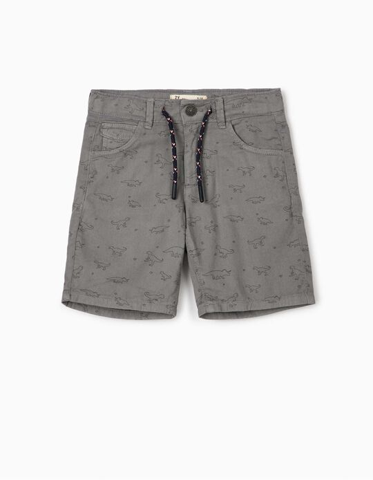 Printed Shorts for Boys, 'Dinosaurs', Grey