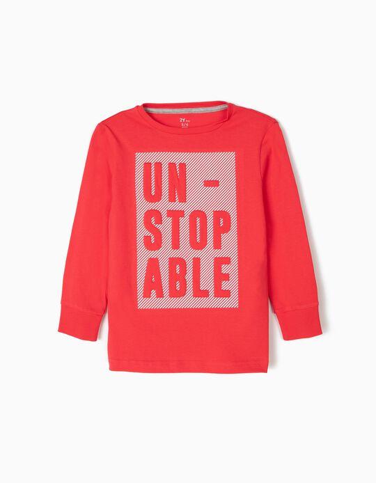 T-shirt de Manga Comprida para Menino 'Unstopable', Vermelho