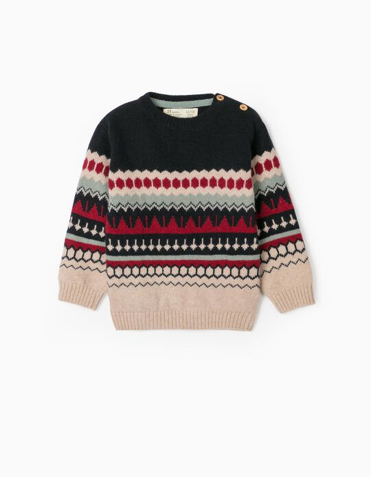 Knit Jumper with Jacquard for Baby Boys, Multicoloured