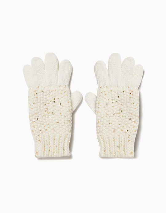 Luvas Tricotadas com Lantejoulas Brancas