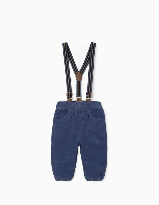 Trousers with Removable Straps for Newborn Baby Boys, Dark Blue