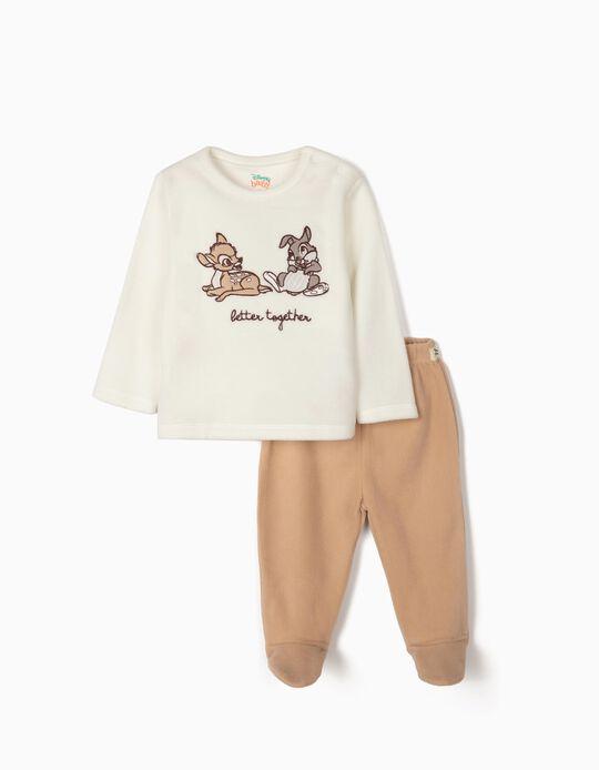Polar Fleece Pyjamas for Baby 'Better Together', White/Beige