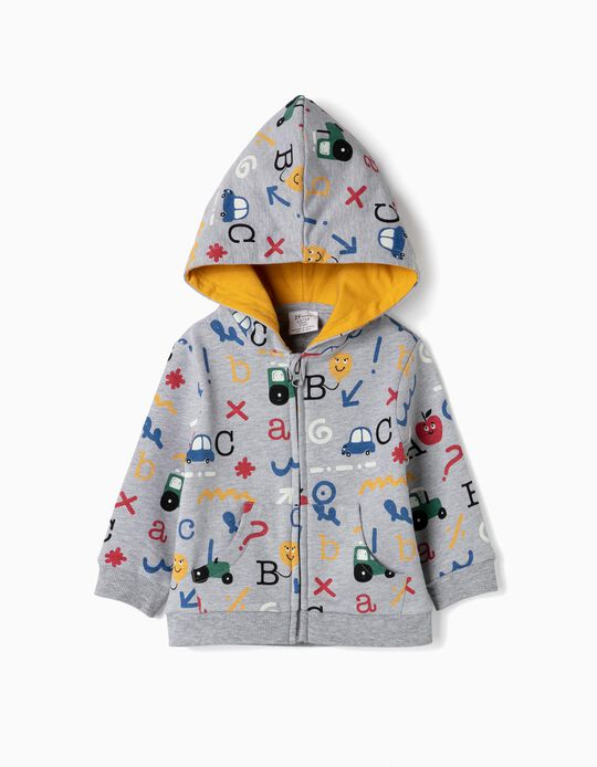 Hooded Jacket for Baby Boys 'Alphabet', Grey
