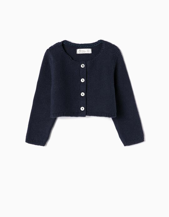 Bolero Jacket for Newborn Girls, Dark Blue