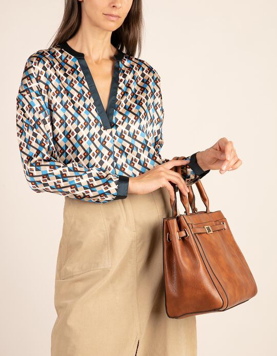 Geometric pattern blouse with V-neckline
