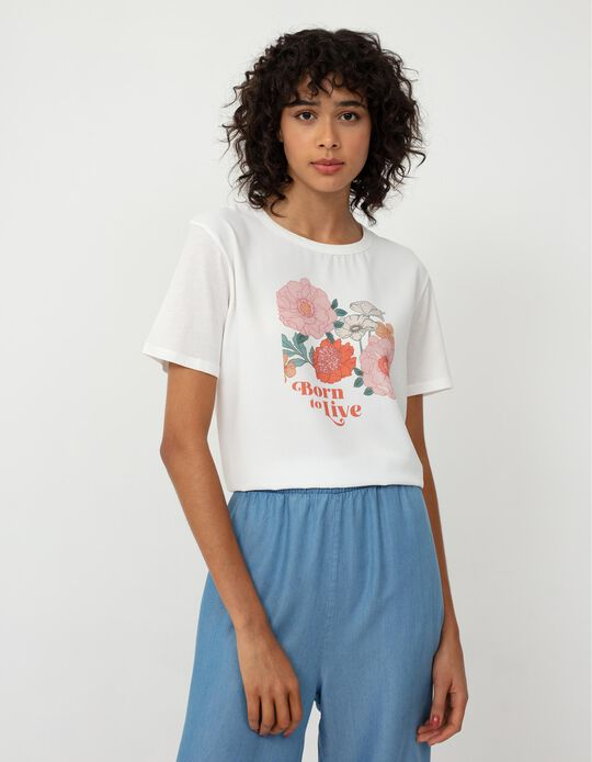 T-shirt with Print, Women, White