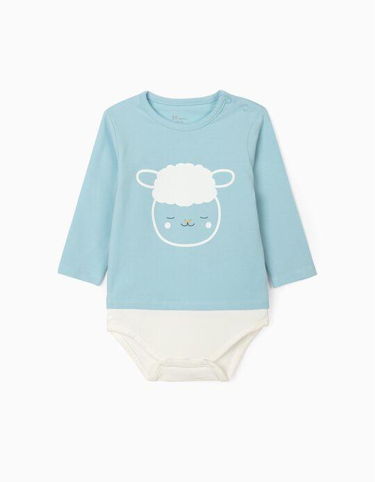Long Sleeve Bodysuit for Newborn Baby Boys, 'Sheep', Light Blue/White
