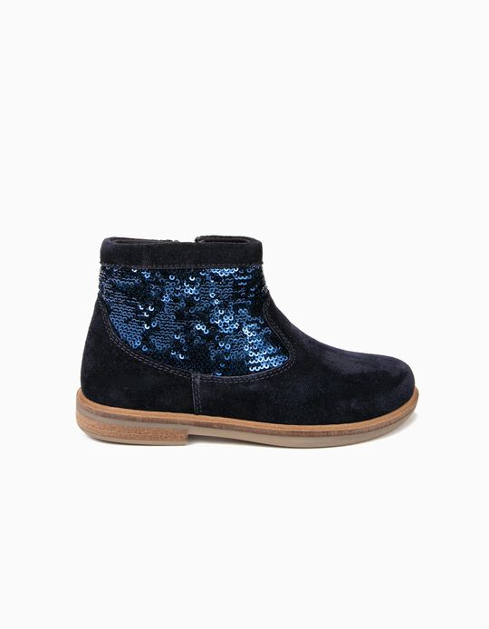 Suede Boots for Girls with Glitter, Blue