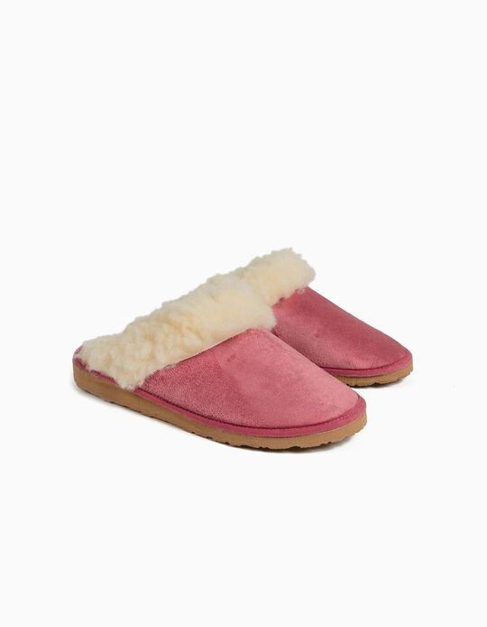 Bedroom Slippers with Furry Trim