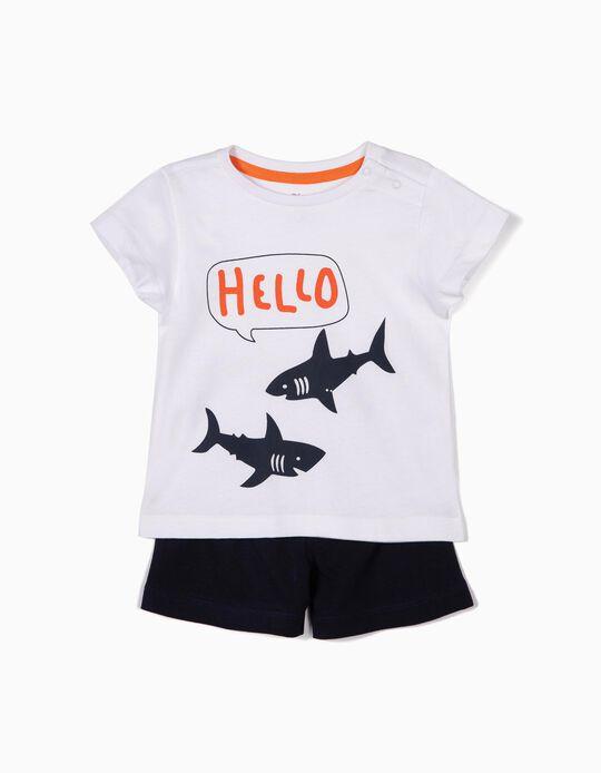 Pijama para Bebé Menino 'Sharks', Branco e Azul