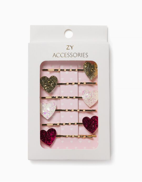 4 Hair Slides for Girls, 'Hearts', Golden