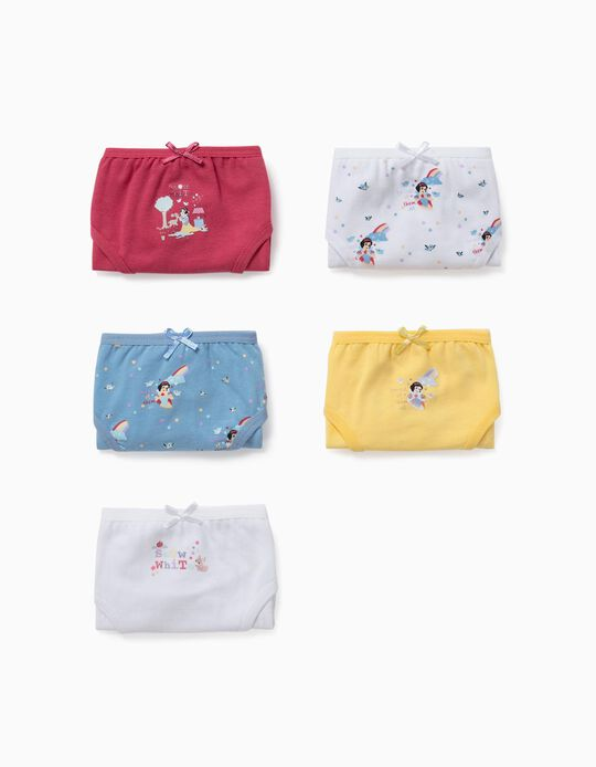 5 Pairs of Briefs for Girls, 'Snow White', Multicoloured