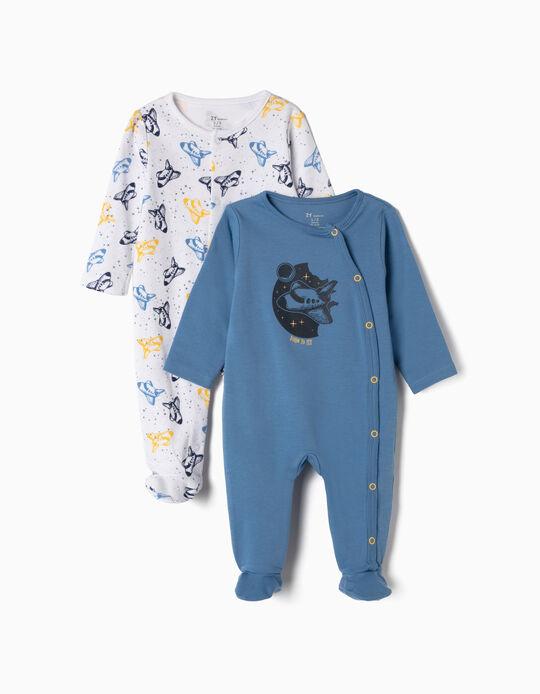 2 Babygrows para Recém-nascido 'Born to Fly', Azul e Branco
